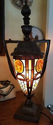 Tiffany Styled Urn European Stained Glass Art Deco