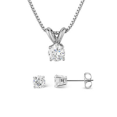 Charles & Colvard Forever Classic Round Moissanite Earrings and Necklace Set