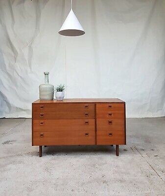 Vtg Mid Century Rare Alfred Cox Heals Teak Sideboard Double Chest Of Drawers