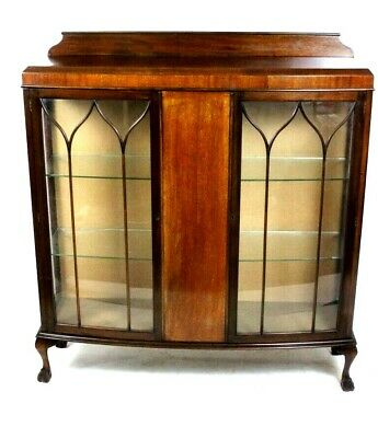 Vintage Mahogany Two Door Bow Front China Display Cabinet [5664]