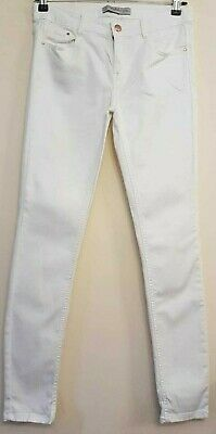 "( Ref 1895 ) Zara - Size 8 W 28"" - Ladies White Cotton Skinny Jeans / Trousers"