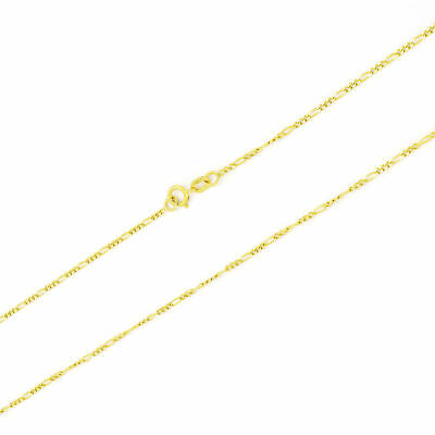 """10K Solid Yellow Gold 1.5mm Womens Figaro Chain Link Pendant Necklace 16""""- 24"""""""