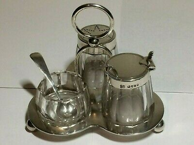 Antique Solid Sterling Silver 5 X Piece Condiment Set,