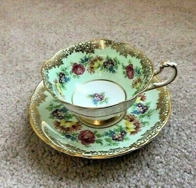 Vintage Paragon Pale Green cup saucer w/roses, gold filigree, Queen, Queen Mary