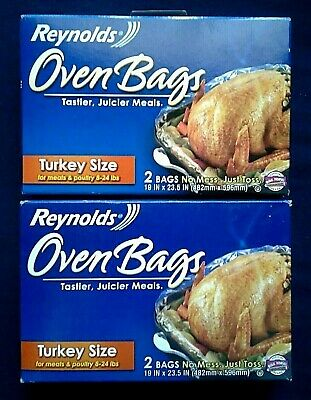 """Reynolds Turkey Size Oven Cooking Bags 19"""" X 23.5"""" ~ 2 Bags Per Box ~ 2 Box Lot"""