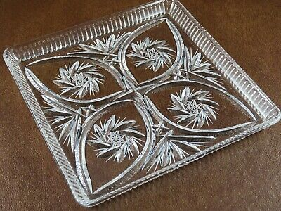 "Vtg American Cut ELEANOR Lead Crystal 8"" Square Glass Appetizer Hostess Tray"
