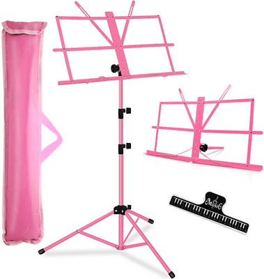Music Stand, Collapsible Portable with Carrying Bag/LED light/Music Sheet Clip