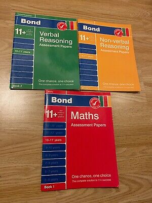 bond 11 plus books 10-11 Years Non-verbal, Verbal And Maths Assessment Papers