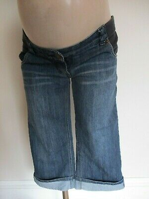 Jojo Maman Bebe Maternity Blue Denim Under Bump Turn Up Jeans Shorts Size 8