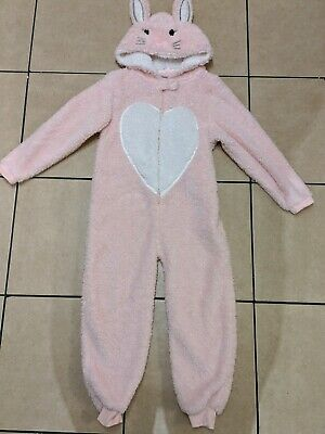 Pink Glitter Bunny Pyjama Sleepsuit All-in-one PJs Costume 7-8 Yrs