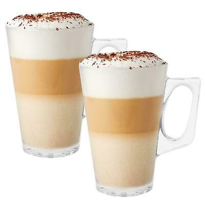 240Ml Coffee Tall Clear Glass Cafe Latte Cappuccino Mug Cup Pack Of 2