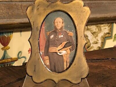 Antique French Hand Painted Framed Portrait French Military Gentleman 19th C