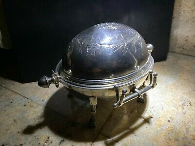 Victorian Silver Plated Footed Butter Dish With Revolving Lid