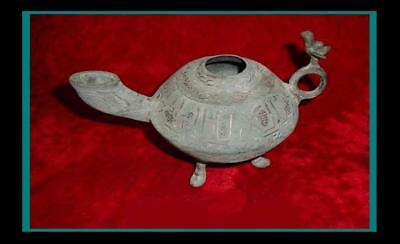 Large ANCIENT INDO PERSIAN / Islamic Inlaid Bronze OIL LAMP w/ Falcon on Handle