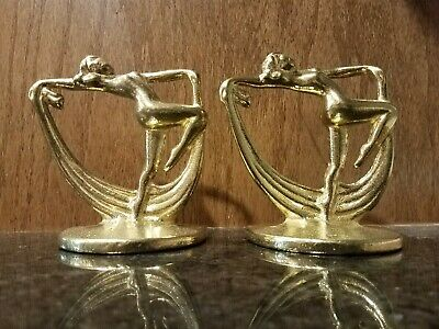 Pair of Art Deco Frankart Style Dancing Nymphs Book Ends - Solid Brass