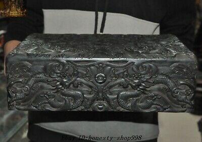 Chinese Dynasty Palace Black rosewood Wood Carved Dragon Book box storage boxes