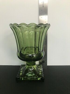 """6"""" GREEN Footed CANDY DISH, Compote With Scalloped Edge, VINTAGE"""