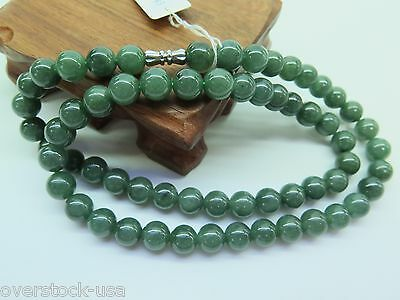 NEW Chinese Grade A Natural Oil-Green Jade (Jadeite) 10mm Bead Necklace