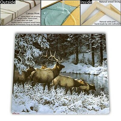 "16""x22"" Deer in Winter Paintings HD Canvas print Framed Home decor Room Wall art"