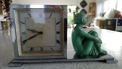 Art Deco Chrome & Green Spelter Lady Mantel Clock - Eight Day Movement