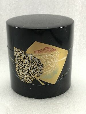 Z1 Japanese Kansai  Lacquer Gold  Leaves  Glaze Tea  CADDY Container