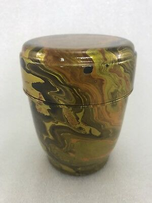 Japanese Lacquer Gold  Swirl  Wave Glaze Tea  CADDY Container Z14