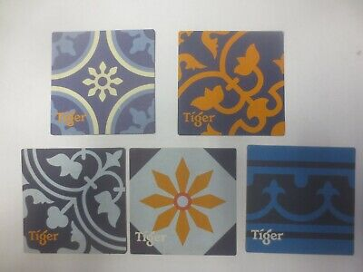 5 different TIGER Breweries,Singapore  Australia Issue SQUARE ?? BEER COASTERS