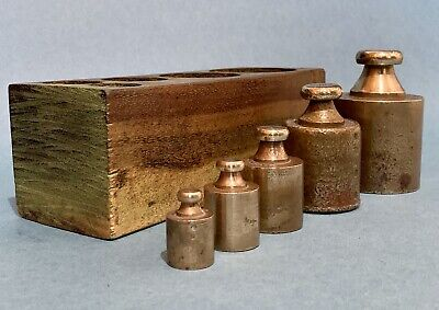 Antique Apothecary Laboratory Brass Weight Set