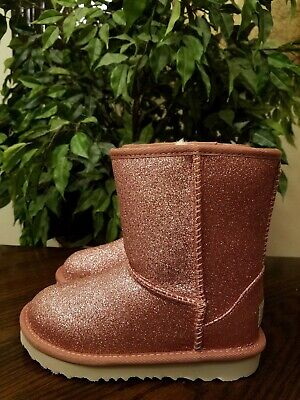 UGG Toddler Girls Classic Short II Glitter Boots Size 9 Pink 1098491T