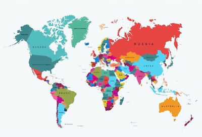 Giant Map Of The World Poster Wall Brand New With Country Names