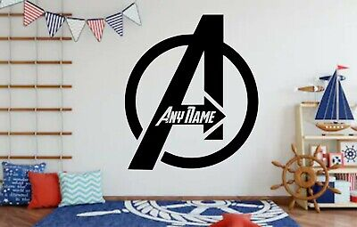Custom Avengers Logo Sticker Wall Bedroom Decor Add Any Name