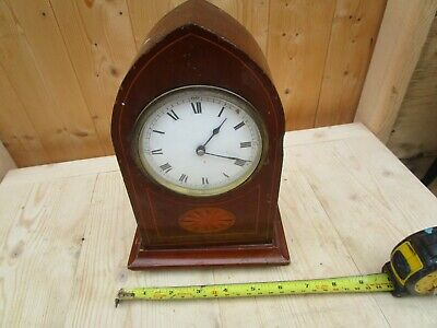 Antique French Mantle Clock  Wooden Marketery Inlay Spares Or Restoration