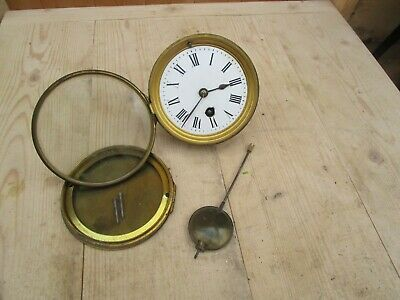 Antique French Clock Movement & Pendulum For Parts/Repair