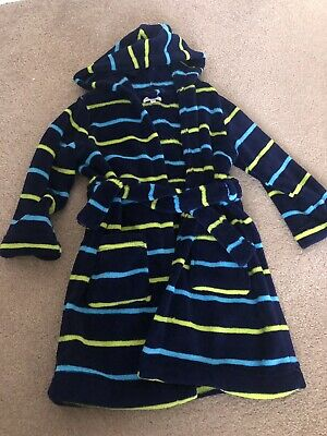 Blue Zoo Boys Fleece Navy Dressing Gown With Stripes Age 4/5 Years