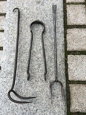 Rare Antique 18th / 19th century wrought iron cooking tongs & cooking forks.