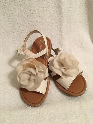 Cat And Jack Children's Girls White Floral Sandals Size 10