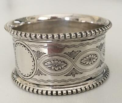 Heavily beaded ornate Victorian English Sterling silver napkin ring from 1873