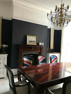 Unique Victorian Union Jack dining table with 8 matching carver chairs