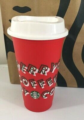 Starbucks Merry Coffee Red Reusable Hot Cup Holiday 2019 Christmas Limited