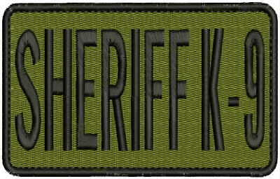SHERIFF EMBRPODERY PATCH 5X12 AND 2.5X6 HOOK ON BACK BLK//GOLD