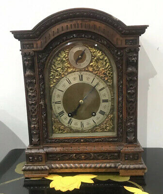 ANTIQUE LENZKIRCH CARVED BURR WALNUT TING TANG Bracket Mantel Clock @ 1850