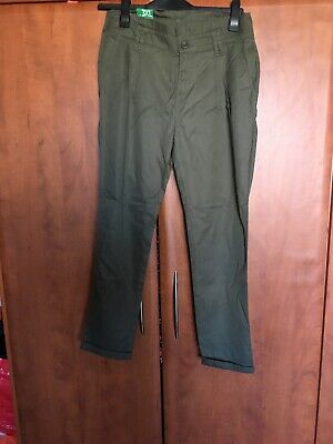 New With Tags Girls Designer Benetton Kharki Trousers, Age 13 Years