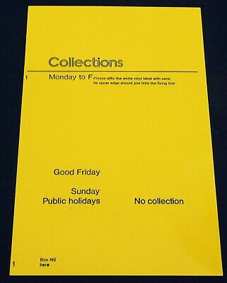 Post Office. Yellow Plastic Time Plate. B Type Wall Box. Gpo. Genuine.