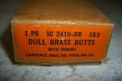 2 Vintage Nos Lawrence 3 X 3 Dull Brass Ball Top Hinges U S A Made
