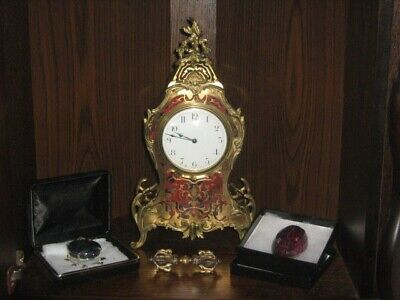 Boulle clock tortoise shell and brass inlay