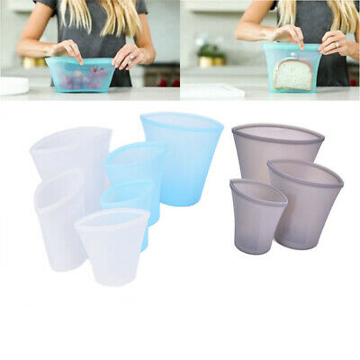 3x Reusable Silicone Food Storage Bags Zip Top Leak-proof Containers Stand UpQ9Q