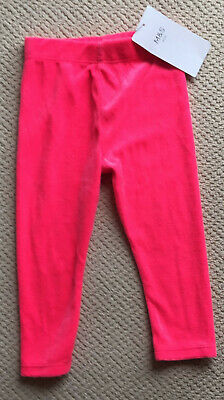 Baby Girls M&S Kids Age 12-18 Months Pink Velour Leggings Bnwt