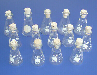 Vtg Lot Lab Chemistry Glass Pyrex Kimax Flasks 25ml 50ml w/ Stoppers Science Old