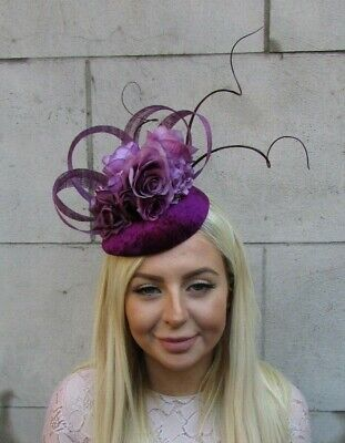 Plum Grape Wine Purple Flower Feather Pillbox Hat Hair Fascinator Velvet 7813