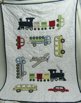 Pottery Barn Baby Blanket Quilt Wall Hanging Car Truck Train Plane